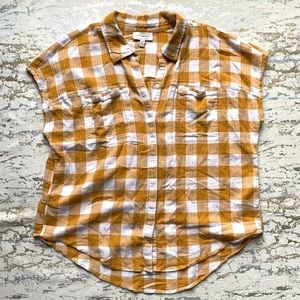 Lucky Brand Buffalo Check Sleeveless Button Down